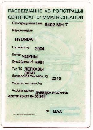 Техпаспорт на машину по белорусски